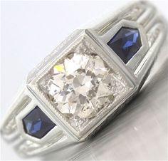 Elegant Antique Art Deco 20K White Gold 1.44ct Diamond Sapphire EGL Ring #SolitairewithAccents