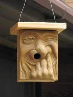 Tuindesign, Hahaha....van alle vogelhuisjes die ik tot nu toe heb gezien is dit toch wel de meest bijzondere......