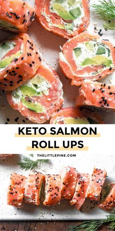 Low Carb Recipes, Ketogenic Recipes, Low Carb Keto, Low Carb Lunch, Cooking Recipes, Healthy Recipes, Diabetic Recipes, Salmon Roll, Keto Salmon