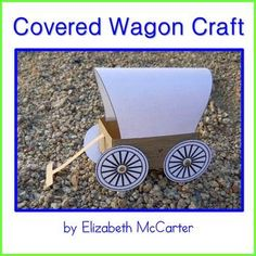 This craft includes templates to create the covered wagon pictured in the photo as well as alternative templates that allow you to add your own wood-grain finish to the wagon body, fabric look to the bonnet, and a choice of wheels for a unique result. Pioneer Activities, Primary Activities, Pioneer Crafts, Social Studies Projects, Wild West Party, Covered Wagon, Oregon Trail, Study History, Camping Crafts