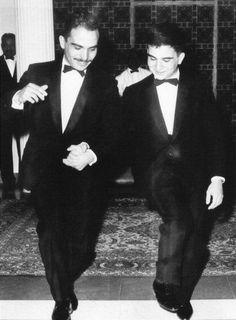 """الملك الحسين والأمير الحسن في رقصة الدبكة - صورة نادرة - .  12/4/1964 م . """""""
