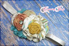 Fabric Flower Headband Flower Girl Hair by CrowningPetals on Etsy, $24.50