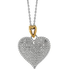 18 14K Yellow Gold & Rhodium Plated 925 Sterling Silver Shiny Oval Link Chain Necklace w/ Heart Pendant & 0.32ctw Diamond