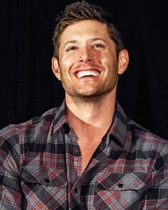 "76 Likes, 1 Comments - Supernaturally Attractive (@brotherjensen) on Instagram: ""His smile is so amazing #jensenackles #deanwinchester #smile #sunshine #freckles #plaid #flannel…"""