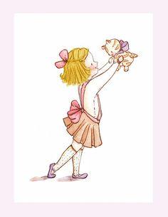 Children Art. Kitty GirlBLONDE. PRINT 8X10. Nursery by LoxlyHollow