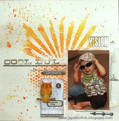 #papercraft #scrapbook #layout  Layers of ink: Misted and Stencilled Layout, made for CSI:Color, Stories, Inspiration challenge, using stencils, stamps, idea-ology and Sizzix dies by Tim Holtz.