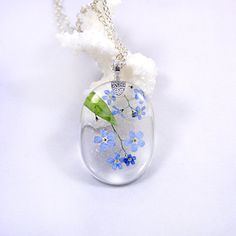 Pendants Big Pendant Blue Necklace Resin Jewelry Forget me not flower Terrarium Necklace Real Flower Necklace Gift for her Cute Necklace