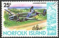 RNZAF LOCKHEED HUDSON Patrol Bomber Aircraft Mint Stamp (1981 Norfolk Island)