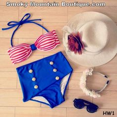 Vintage Retro High Waist Swimsuit White and Red Striped Top & Solid Blue Bottom - S/M H1 - Smoky Mountain Boutique
