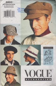 90s Vogue 8893 Mens Hats Sewing Pattern 5 Styles by Lola  UNCUT