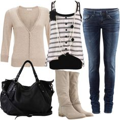 """black and beige"" by sandreamarie on Polyvore"