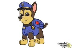 How to Draw Chase from PAW Patrol - Step 11