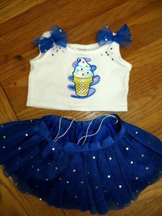 BUILD A BEAR clothes blizzard dairy queen ice cream blue sequin tutu outfit VGC
