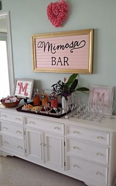 My mom and best friends did such an amazing job throwing my bridal shower! Hello what southern girl doesn't love mimosas and monograms?! (p.s. There might have been moonshine after the grandmas left) (bar wedding ideas bridal shower)