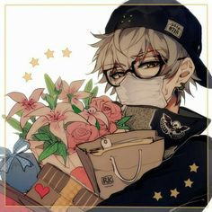 Anime boy, flowers, mask, glasses, blonde, hat, cool, bags, presents, funny; Anime Guys