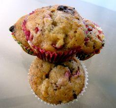 Dark Chocolate Raspberry Banana Muffins