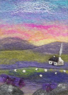 Felt Landscape with Cottage Sheep and Purple by AileenClarkeCrafts, £40.00-Lovely!!!