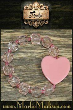 Heart Bead Bracelet - Pink http://www.marliemadison.com/accessories/jewelry/heart-bead-bracelet