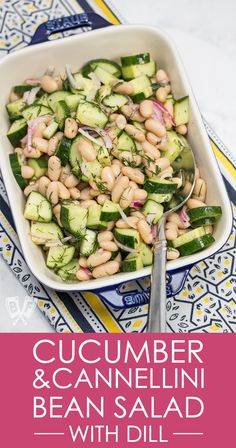 Cucumber & Cannellini Bean Salad with Dill This quick & easy side dish is a favorite in my house, and a total lifesaver on busy summer nights when I don't want to turn on the stove or oven! Just 6 ingredients and a few minutes and it's ready! Bean Salad Recipes, Cucumber Recipes, Cucumber Salad, Bean Salads, Bean Salad Vegan, Easy Bean Recipes, Vegan Bean Recipes, Quick Salad Recipes, White Bean Recipes