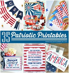 35 Free Patriotic Printables for 4th of July fun! Celebrate Independence Day with fun downloads and printables!
