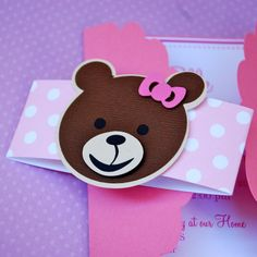 Cute Custom Gate Fold Teddy Bear Invitations by prettypaperparty