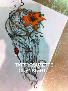 Dream catcher tattoo design by tattoosuzette on DeviantArt Trendy Tattoos, Love Tattoos, Beautiful Tattoos, Body Art Tattoos, New Tattoos, Tattoos For Women, Atrapasueños Tattoo, Tattoo Thigh, Tattoo Set