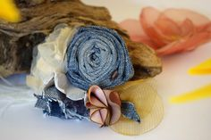 Handmade flowers denim brooch,boho style,vintage style,shabby chic ,romantic brooch by denimize on Etsy