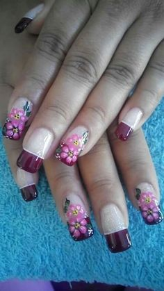 Uñas French Nail Designs, Nail Polish Designs, Nail Art Designs, Fabulous Nails, Gorgeous Nails, Pretty Nails, Purple Nails, Green Nails, Bling Nails
