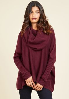 <p>When the day calls for an afternoon of snuggling, you answer in this burgundy sweater. As you sip your tea and burrow on the couch, the cowl neckline, drop shoulders, and loose fit of this super-soft knit wraps you in a comfortable - and chic - cocoon of coziness!</p>