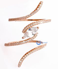 Spiral Fashion Ring PAMELA Signity CZ Pave/Prong Set Rose Gold over Sterling Silver