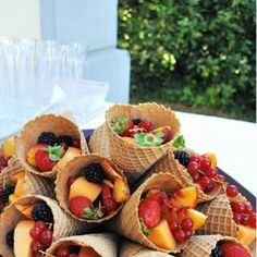 Summer food fun. Fruit cones