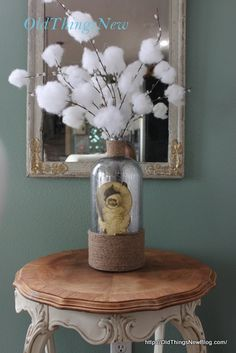 Mercury Glass Used in Winter Decor - Old Things New