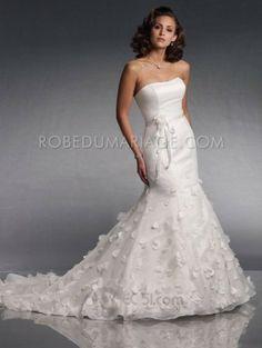Robe mariée - Robe chic traîne balayée ornée de ffeur d'applique et ruban en satin