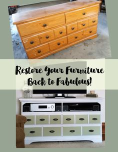 How to convert a dresser into a tv stand.  This furniture makeover is one of my favorites.  It organizes all of the electronics and the DVD's are organized in the drawers.  #organize #electronicorganization #diy #furnituremakeover  - www.michellejdesigns.com