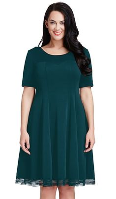 Stand out at an important occasion with this sophisticated deep green short-sleeves skater dress.