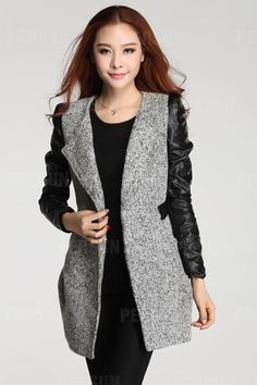 Slim Wool Coat with Leather Sleeves and Belt