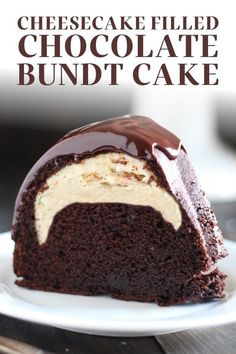 Who could beat this Cheesecake Filled Chocolate Bundt Cake with its rich yet tender homemade chocolate cake, surprise cheesecake filling, and thick fudgy glaze? YUM. This easy, from-scratch dessert recipe is sure to impress a crowd! Great for the holidays or Christmas. Chocolate Bundt Cake, Chocolate Desserts, Homemade Chocolate, Chocolate Cake From Scratch, Homemade Cake Recipes, Baking Recipes, Top Recipes, Fall Recipes, Pastries