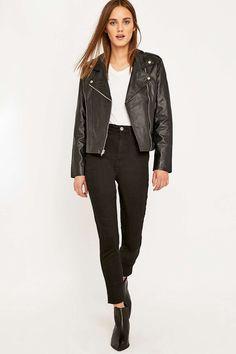 Urban Renewal Vintage Re-Made Black Leather Biker Jacket