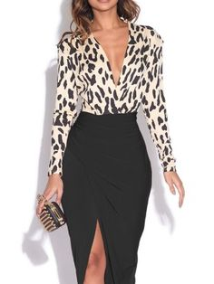 OL Style Little Leopard Pattern Midi Dress-Black - Fashion Show Classy Outfits, Chic Outfits, Fall Outfits, Black Outfits, Work Fashion, Fashion Prints, Animal Print Fashion, Fashion Tips, Women's Dresses