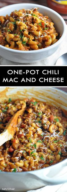 One Pot Chili Mac and Cheese - two favorite comfort foods come together in this super easy, one-pot dish that the whole family will go crazy for! comfort food One Pot Chili Mac and Cheese Mac Chili, Chili Mac And Cheese, Chili Mac Crockpot, Chilli Mac, Mac And Cheese Dinner Recipe, Hamburger Mac And Cheese, Crock Pot Chili, Mexican Mac And Cheese, Crock Pot Recipes