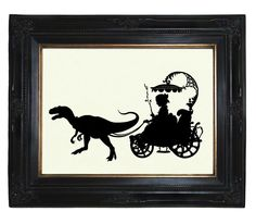Silhouette Girl Carriage drawn by her Pet Dinosaur Velociraptor Victorian Steampunk art print. $19.00, via Etsy.