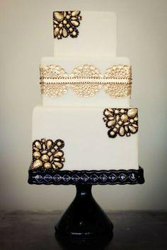 Metallic-Jeweled-Wedding-Cake