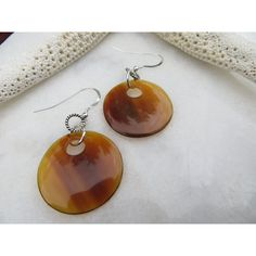 Horn Earrings, Amber Horn Earrings, Tribal Earrings, Brown Lightweight... ❤ liked on Polyvore featuring jewelry and earrings