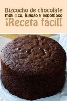 :) Bizcocho de chocolate muy rico, jugoso y esponjoso. ¡Receta fácil!   Más en https://lomejordelaweb.