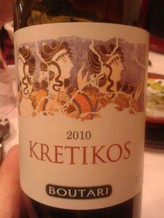 KRETIKOS 2010   Vino Griego de la isla de Creta Bodegas Boutari Wines 12 meses en barrica 60% Kotsifali, 40% Μantilaria 12º