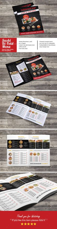 Sushi Restaurant Bi-Fold Menu - Food Menus Template PSD. Download here: http://graphicriver.net/item/sushi-restaurant-bifold-menu/16726272?s_rank=140&ref=yinkira