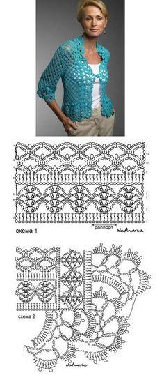 bolero+crochet+celeste.jpg 385×894 pixels § bella giacchina con schema §