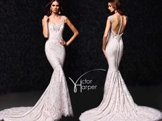 A romantic lace made to charm #VictorHarper Style VH1207.  Dress details: Multilayered lace fit and flare gown with illusion strap and back yoke detail.  #victorharpercouture #bridalshopping #bridetobe #bride #bridal #weddinggown #wedding