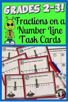 Fractions on Number Lines Task Cards: Alien Theme First Grade Teachers, 2nd Grade Math, Second Grade, Math Lesson Plans, Math Lessons, Fractions For Kids, 1st Grade Activities, Learning Activities, Math Classroom