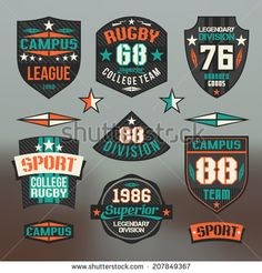Rugby emblem college team. Graphic design for t-shirt on blurred background